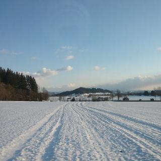 Adeleggloipe zwischen Rimpach und Rohrdorf; im Hintergrund der Rangenberg