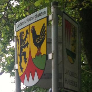 Schild Dreiländereck (Coburg ist auf der Rückseite)