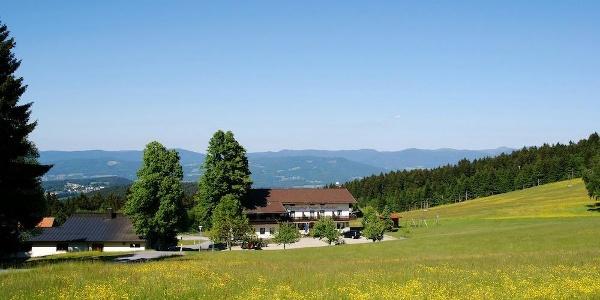 Rückblick auf Markbuchen mit Bayerwald-Hauptkamm
