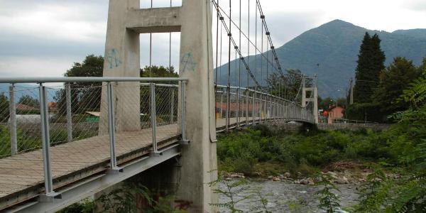 The pedestrian suspension bridge in Cannobio
