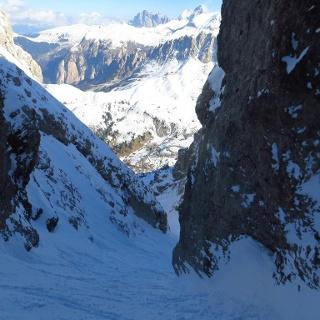 Val Culea - Rückblick hinunter zum Grödner Joch