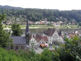Foto Blick auf die Stadt Wehlen