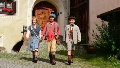 """Die drei Hauptdarsteller des Kinofilms """"Schellen-Ursli"""""""