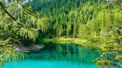 Smaragdgrün schimmernder Grüner See.