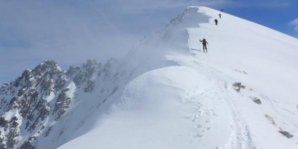 Windige Verhältnisse am Gipfelrücken