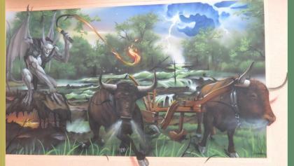 So entstand der Spreewald, Bild in Nauendorf an einer Hauswand