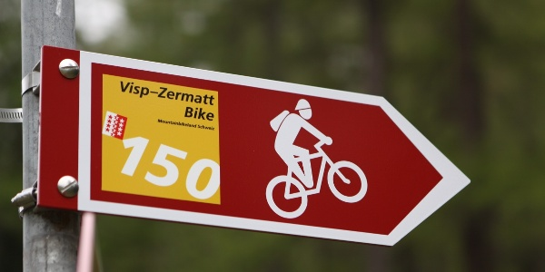 Trail signs along the bike trail Zermatt -Visp