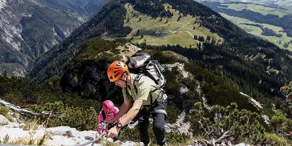 Aufstieg über den Klettersteig