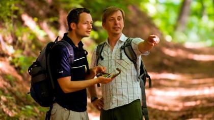 """Unterwegs auf dem GPS-Erlebnispfad """"Erlesene Natur - Waldwelten"""""""