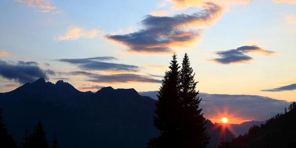 Sonnenuntergang auf der Breitenebenalm