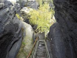 Foto Der Abstieg vom Lilienstein