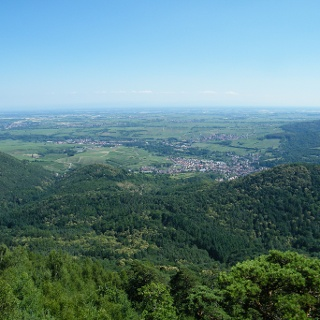 Am Orensfelsen liegt uns die Rheinebene zu Füßen.