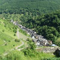 Bacharacher Ortstein Steeg - Ansicht von der Ruine Stahlberg