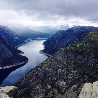View of the fjord valley from Trolltunga