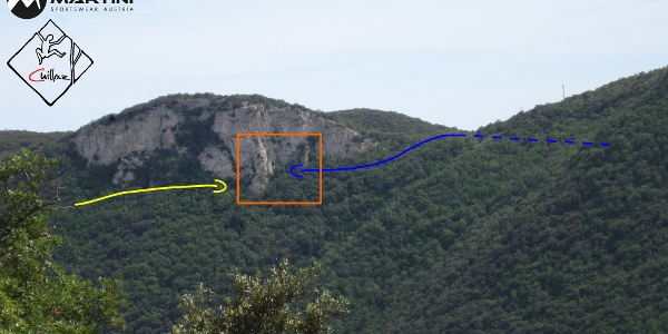 Rocce dell´Orera - Klettergarten bei Finale Ligure - Übersichtsbild Zustieg - Topo