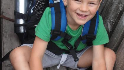 Unser Kleinster musste natürlich keinen Rucksack tragen!