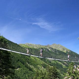 50 m steel rope bridge spanning the