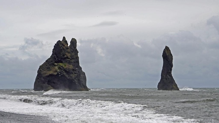 The Reynisdrangar in the south of Iceland are, according to legend, petrified trolls.