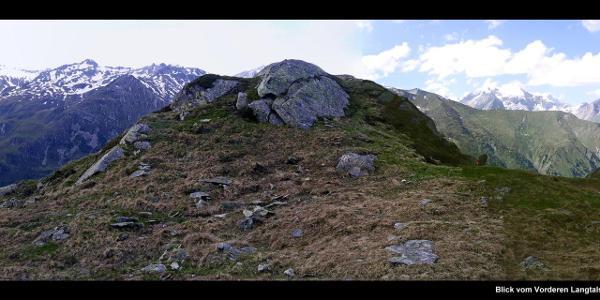 Blick vom Vorderen Langtalsee, Höhenweg zur Elberfelder Hütte