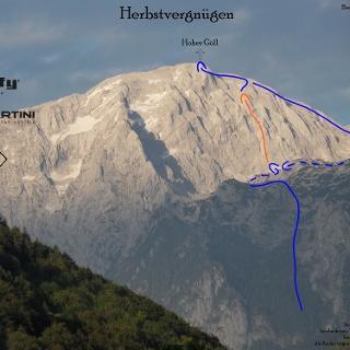 Herbstvergnügen - Göll Südwestwand Übersichtsbild mit Route - Topo