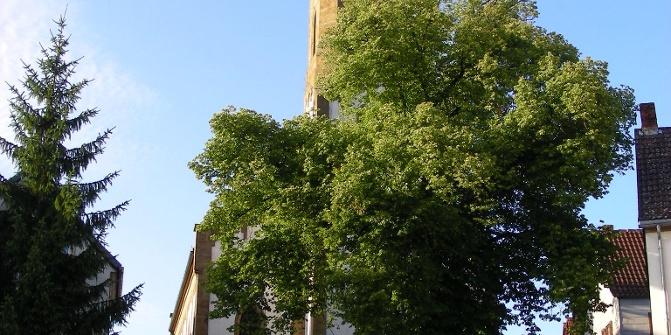 Am belebten Kirchplatz in Lauterecken.