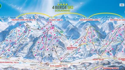 Pistenplan 4-Berge-Skischaukel