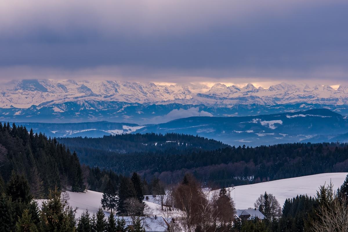 Alpensicht vom Steinernen Kreuz
