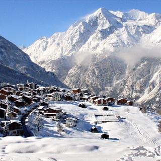 Dorf Grächen Winter