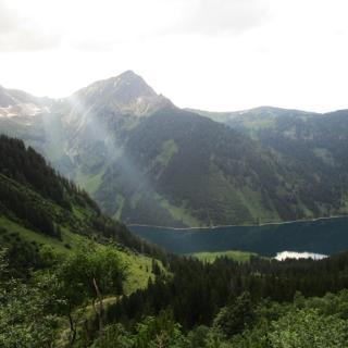 Aufstieg, Blick auf den Vilsalpsee und Gaishorn