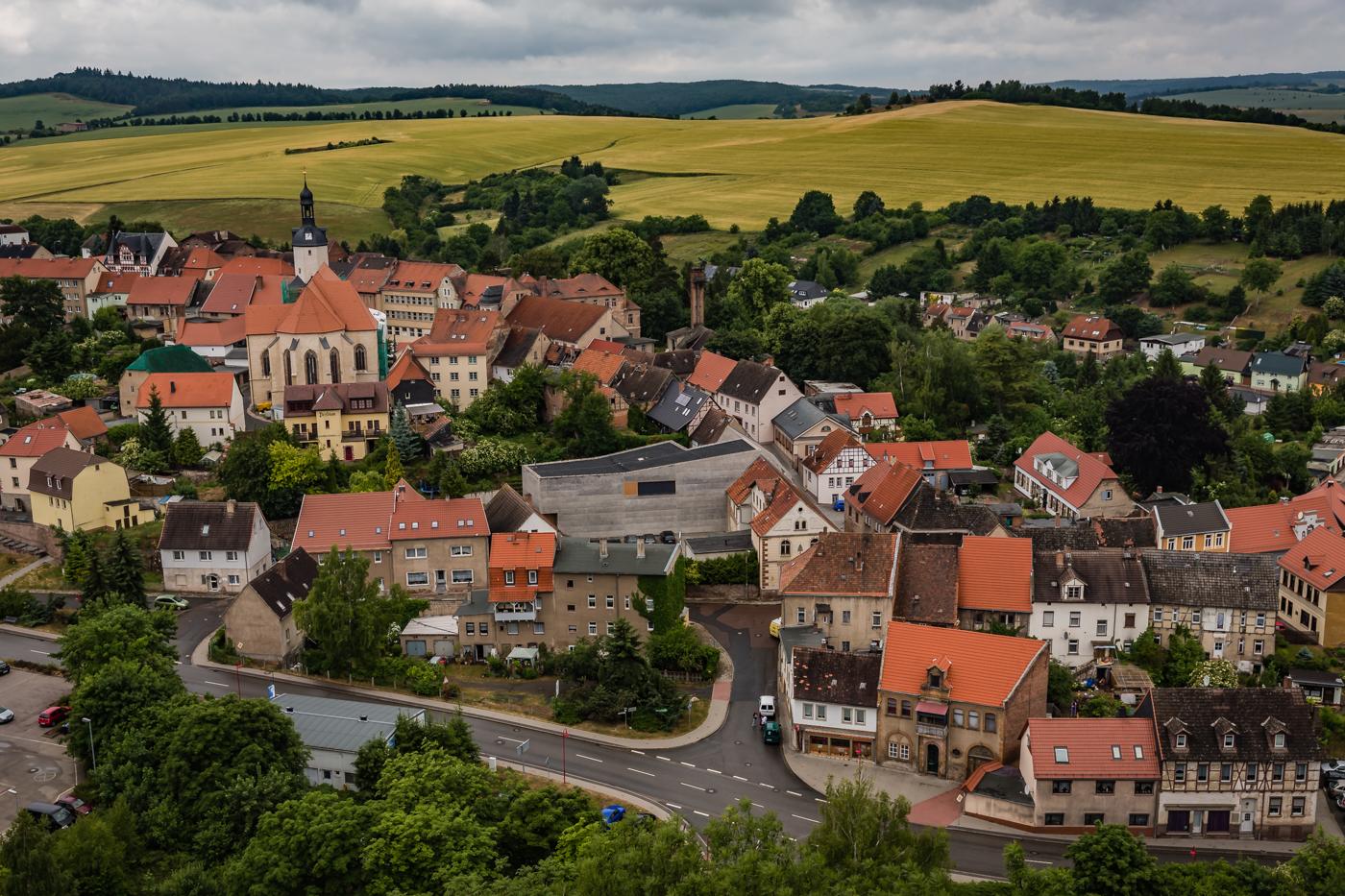 Blick auf Mansfeld vom Schloss