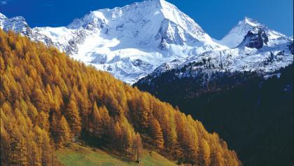 Herrliche Herbststimmung in Rein in Taufers mit dem mächtigen Hochgall im Hintergrund.