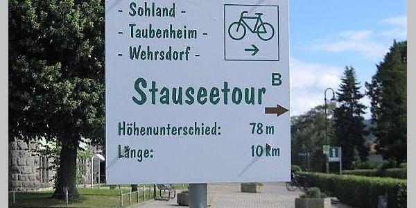 Hinweisschild Stauseeradtour