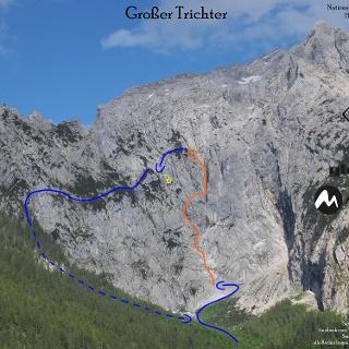 Großer Trichter - Hoher Göll Westwand - Übersichtsfoto mit Route