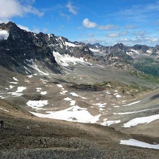 Blick vom Kronenjoch Richtung Jamtalhütte