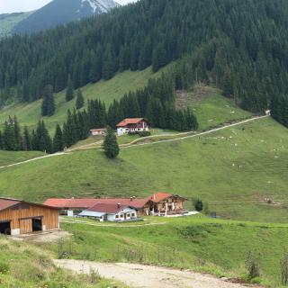Unten die Wandbergalm u. Bürgeralm, im Hintergrund die Wandberghütte. (Bild Werner Kaller)