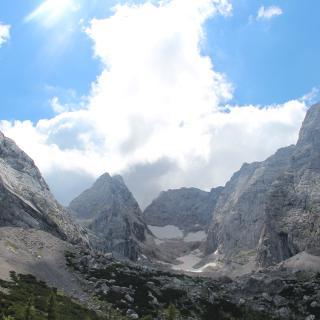 Ausblick auf den Gletscher und die Bergspitzen von der Blaueishütte aus