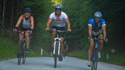 The bike leg starts with a nice climb to the Pokljuka plateau.
