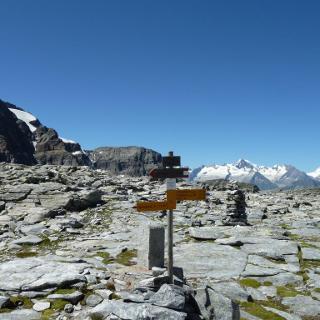 Ritterpass mit Blick zur Jungfrauregion mit dem Aletschhorn