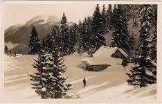 Alte Ansichtskarte von der Alpenrose Hütte im Winter