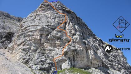 Rechte Ostwand am Taubenkogel - Route in Foto , Topo