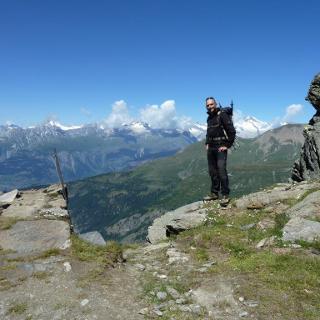 Bereit für den Abstieg im angelegten Klettersteig