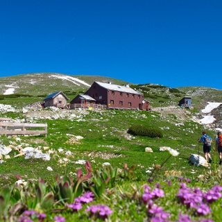 Graf-Meran-Schutzhaus unterhalb des Gipfels