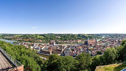 Passau: Panoramablick von der Veste Oberhaus