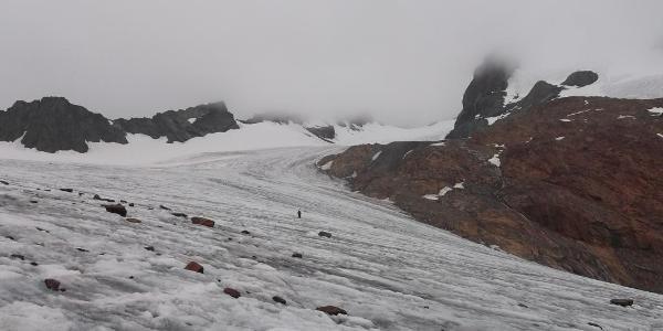 Hier ungefähr betritt man den Gletscher