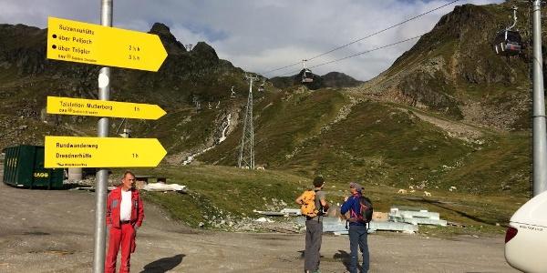Startpunkt der Tour bei der Mittelstation der Gletscherseilbahn.
