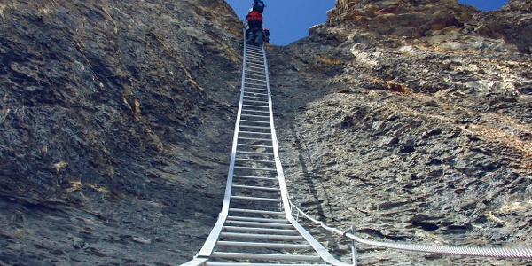 Ladder at the Great Daubenhorn via ferrata