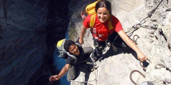 Kletterer in der Bietschtalschlucht