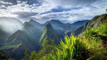 Insel La Réunion. Panorama von Mafate, von Cap Noir gesehen