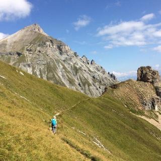 Der optimal angelegte Wanderweg führt direkt auf die Serles zu.