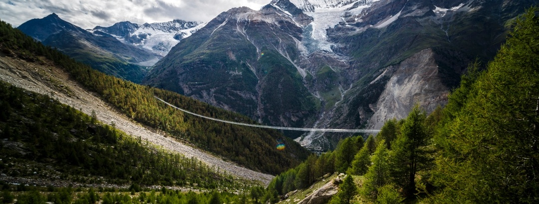 Europaweg mit der längsten Fussgänger-Hängebrücke der Alpen